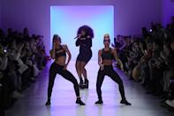 <p>Rapper Tt the Artist performed at the Chromat collection fashion show, repeatedly condemning President Trump with a certain four-letter expletive during her set. (Photo: Getty Images) </p>