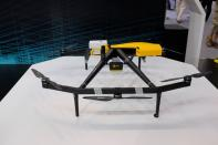 Delivery drone developed by Meituan is displayed at the World Artificial Intelligence Conference in Shanghai
