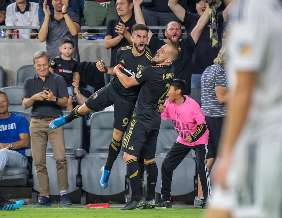 Diego Rossi (9) and the LAFC faithful celebrated this one long into the night. (Getty)