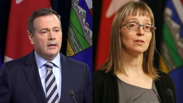 Premier Jason Kenney and Dr. Deena Hinshaw, the province's chief medical officer of health, updated Albertans about the COVID-19 pandemic at a news conference on Thursday. (CBC - image credit)
