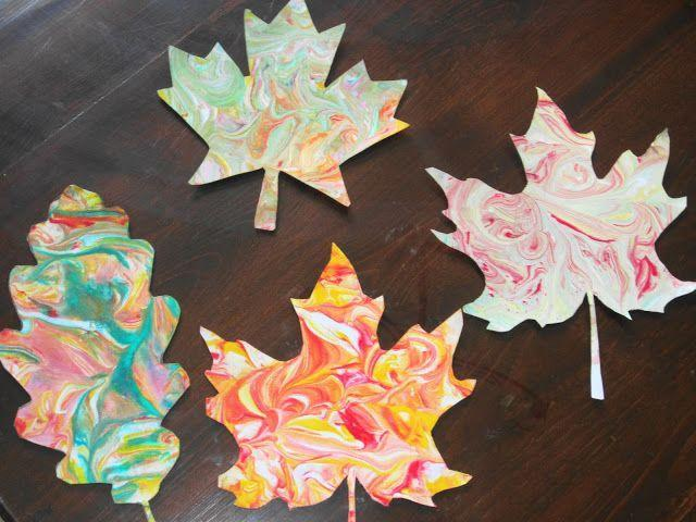 """<p>The secret to getting the perfect marbled swirl pattern on these leaves? Mixing paint with shaving cream.</p><p><em><a href=""""http://www.teachingwithtlc.com/2012/09/create-marbled-fall-leaves-with-shaving.html"""" rel=""""nofollow noopener"""" target=""""_blank"""" data-ylk=""""slk:Get the tutorial at Teaching With TLC »"""" class=""""link rapid-noclick-resp"""">Get the tutorial at Teaching With TLC »</a> </em></p>"""