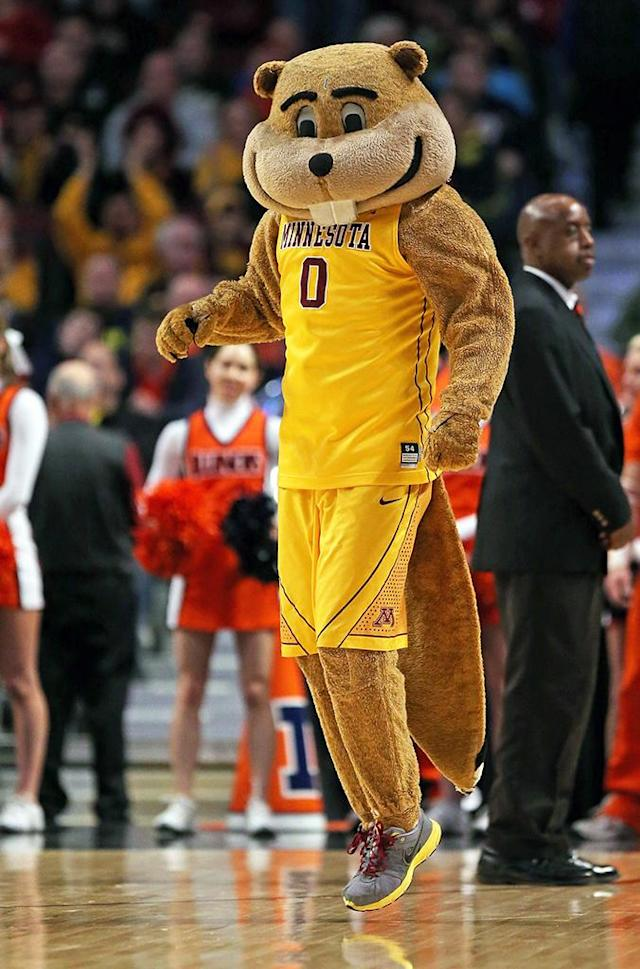 The mascot for the Minnesota Golden Gophers watches the game against the Illinois Fighting Illini during a quarterfinal game of the Big Ten Basketball Tournament at the United Center on March 15, 2013 in Chicago, Illinois. (Photo by Jonathan Daniel/Getty Images)