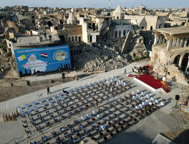 Rows of seats were set out in the ruins of the Syriac Catholic Church of the Immaculate Conception in Mosul's Old City ahead of Pope Francis' visit