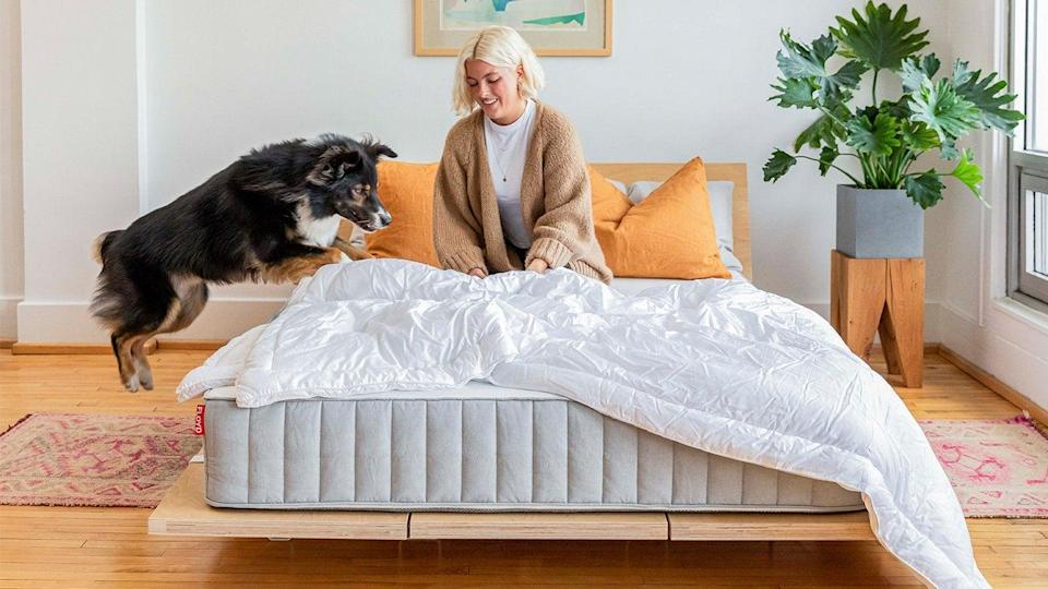 """<h2><a href=""""https://floydhome.com/products/the-floyd-mattress"""" rel=""""nofollow noopener"""" target=""""_blank"""" data-ylk=""""slk:Floyd Home The Mattress"""" class=""""link rapid-noclick-resp"""">Floyd Home The Mattress</a></h2><br><strong>Mattress Type: </strong>Hybrid (Foam & Spring)<br><strong>Sleeper Style: </strong>Side, Stomach, & Back<br><strong>Pros: </strong>Supportive, Cooling, Fast Delivery<br><strong>Cons: </strong>Initial Firmness<br><br>""""My partner and I recently moved into a house and were in need of both a bed frame AND a new mattress — which is what led us to <a href=""""https://floydhome.com/"""" rel=""""nofollow noopener"""" target=""""_blank"""" data-ylk=""""slk:Floyd"""" class=""""link rapid-noclick-resp"""">Floyd</a>. I'd been eyeing the brand's <a href=""""https://floydhome.com/products/the-bed-frame"""" rel=""""nofollow noopener"""" target=""""_blank"""" data-ylk=""""slk:very cool bed frames"""" class=""""link rapid-noclick-resp"""">very cool bed frames</a> for a while and it felt like kismet when I discovered they launched a mattress to go with it. As a predominant side sleeper who occasionally shifts to her back with a partner who favors his stomach, the best mattresses for our combined sleep styles have always been ones that are cushy but still supportive (aka hybrid mattresses). Floyd's The Mattress is a hybrid style, meaning it's part cushy foam and part supportive coils. Additionally, my partner and I both run HOT — so, The Mattress' copper and graphite-infused foam that supposedly helps dissipate body heat was a really intriguing factor.""""<br><br>""""One thing we learned while moving during a pandemic is that it can take many many months for a single piece of furniture to ship — and we needed a bed ASAP. That was a huge plus with Floyd because both the mattress and the frame arrived together within a week or so of the order being placed. It's a bed-in-a-box style shipment, meaning delivery and assembly were both pretty standard and easy to handle with two people (the mattress <em>is</em> on the heavier side for one per"""