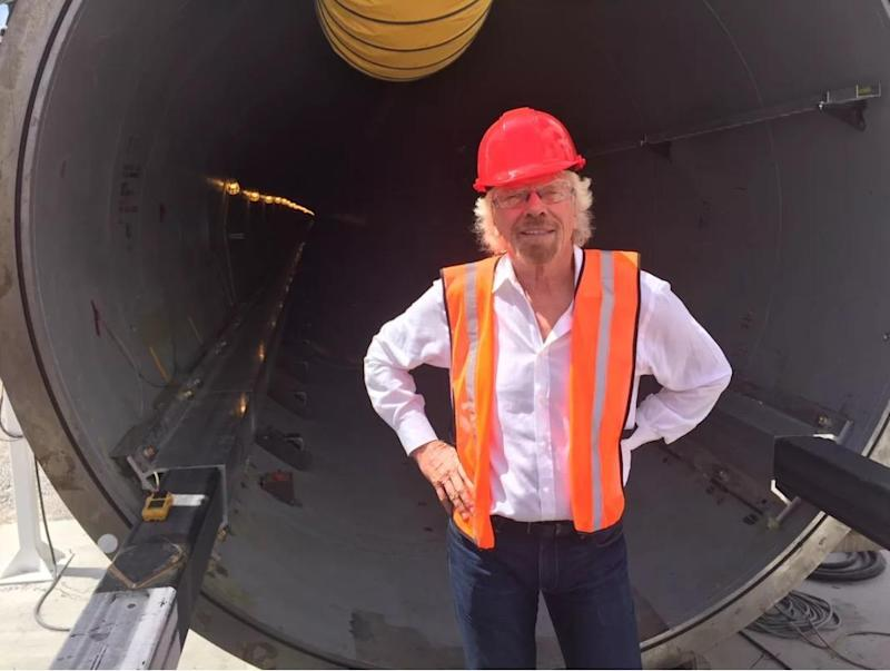 Richard Branson stands in front of some of the machinery required for the Hyperloop: Greg Rose/Virgin