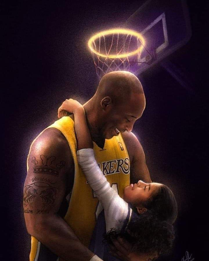 Gianna embraces her father, Kobe, as they share a moment of laughter under a basketball hoop in disguise of a halo. (Credit: heyheyandre_art/Instagram)