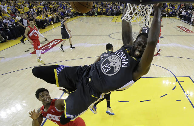 OAKLAND, CALIFORNIA - JUNE 13: Draymond Green #23 of the Golden State Warriors dunks the ball against the Toronto Raptors during Game Six of the 2019 NBA Finals at ORACLE Arena on June 13, 2019 in Oakland, California. (Photo by Tony Avelar-Pool/Getty Images)