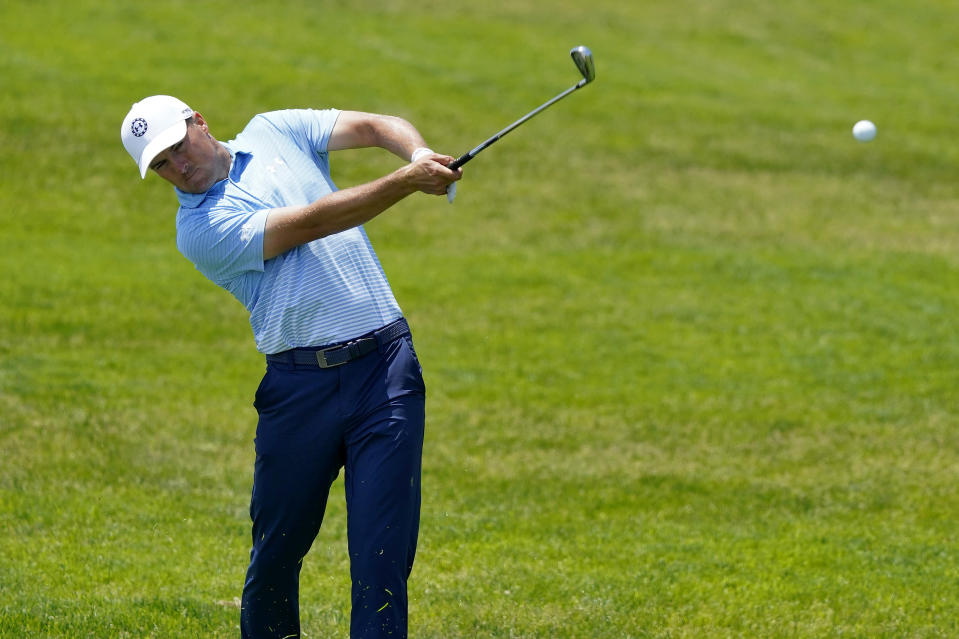 Jordan Spieth hits from the 13th fairway during a practice round of the U.S. Open Golf Championship, Tuesday, June 15, 2021, at Torrey Pines Golf Course in San Diego. (AP Photo/Marcio Jose Sanchez)