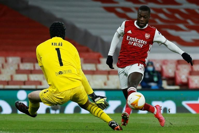 Arsenal's Nicolas Pepe scores against Slavia Prague