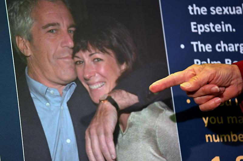 Charges against Ghislaine Maxwell are announced on 2 July 2020 during a press conference in New York City: JOHANNES EISELE/AFP via Getty Images
