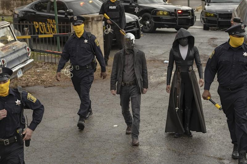 """Tim Blake Nelson and Regina King in """"Watchmen"""" on HBO. photo: Mark Hill/HBO."""