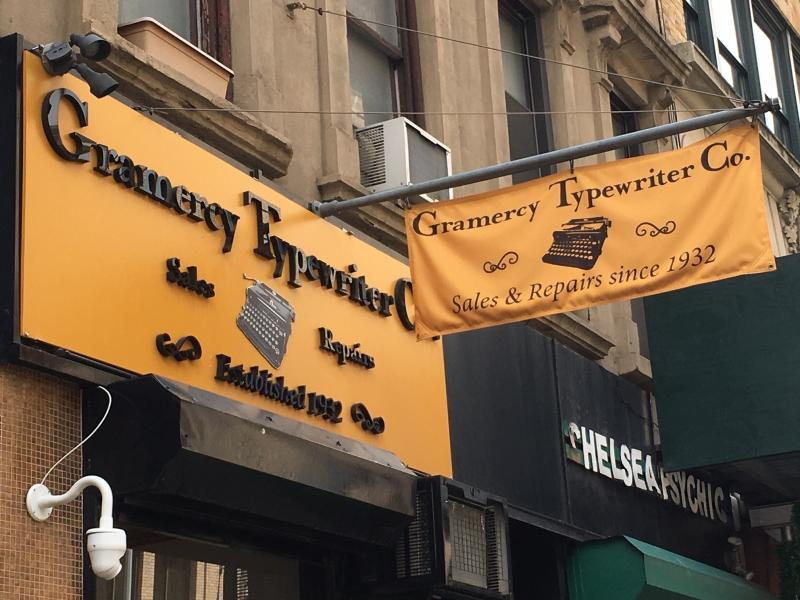 This June 28, 2019 photo shows the exterior of Gramercy Typewriter Co. in New York, which sells vintage typewriters, all in working condition. Vintage typewriters are sent for repair and restoration daily from around the country, the owner says. (Katherine Roth via AP)