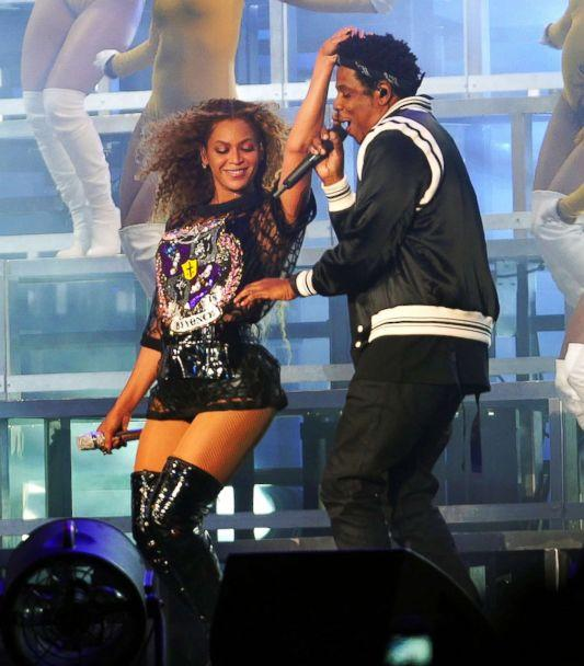 PHOTO: Beyonce runs her fingers through Jay-Z's new hairdo as he makes a surprise appearance at 2018 Coachella Music Festival in Indio, Calif., April 14, 2018. (BeyZ/Splash News)