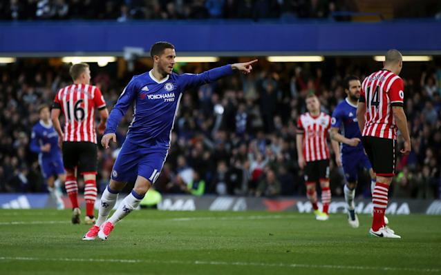 <span>Eden Hazard celebrates putting Chelsea in front</span>