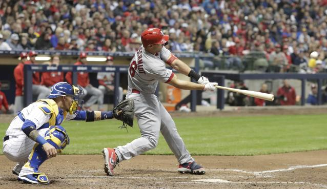 St. Louis Cardinals' Paul Goldschmidt hits a home run during the sixth inning of a baseball game against the Milwaukee Brewers Friday, March 29, 2019, in Milwaukee. (AP Photo/Morry Gash)