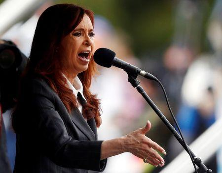 Former Argentine President Cristina Fernandez de Kirchner speaks during a rally outside the Federal Justice building where she attended court in Buenos Aires, Argentina, in this picture taken April 13, 2016. REUTERS/Marcos Brindicci