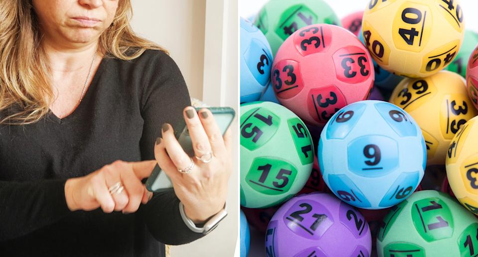 A woman holds a phone and lottery balls are pictured.