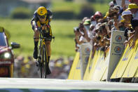 Belgium's Wout Van Aert competes during the twentieth stage of the Tour de France cycling race, an individual time-trial over 30.8 kilometers (19.1 miles) with start in Libourne and finish in Saint-Emilion, France, Saturday, July 17, 2021. (AP Photo/Daniel Cole)