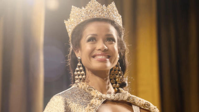 Gugu Mbatha-Raw as Miss World winner Jennifer Hosten in 'Misbehaviour'. (Credit: Pathe)
