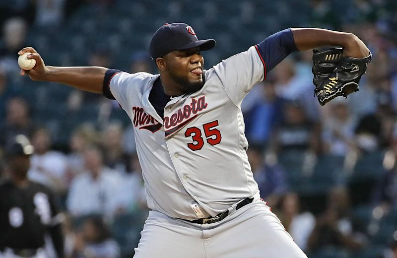 CHICAGO, ILLINOIS - AUGUST 27: Starting pitcher Michael Pineda #35 of the Minnesota Twins delivers the ball against the Chicago White Sox at Guaranteed Rate Field on August 27, 2019 in Chicago, Illinois. (Photo by Jonathan Daniel/Getty Images)