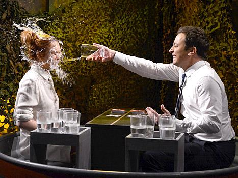 """Lindsay Lohan and Jimmy Fallon played a game of """"Water War"""" on the Tonight Show Starring Jimmy Fallon"""" on March 6"""
