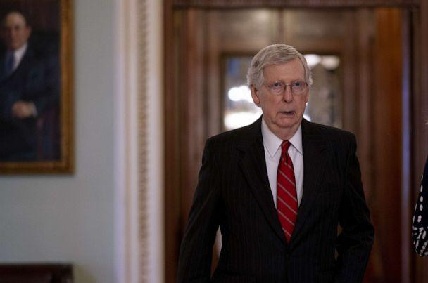PHOTO: Senate Majority Leader Mitch McConnell walks toward his office after voting in the Senate Chamber at the U.S. Capitol in Washington, Aug. 1, 2019. (Bloomberg via Getty Images)