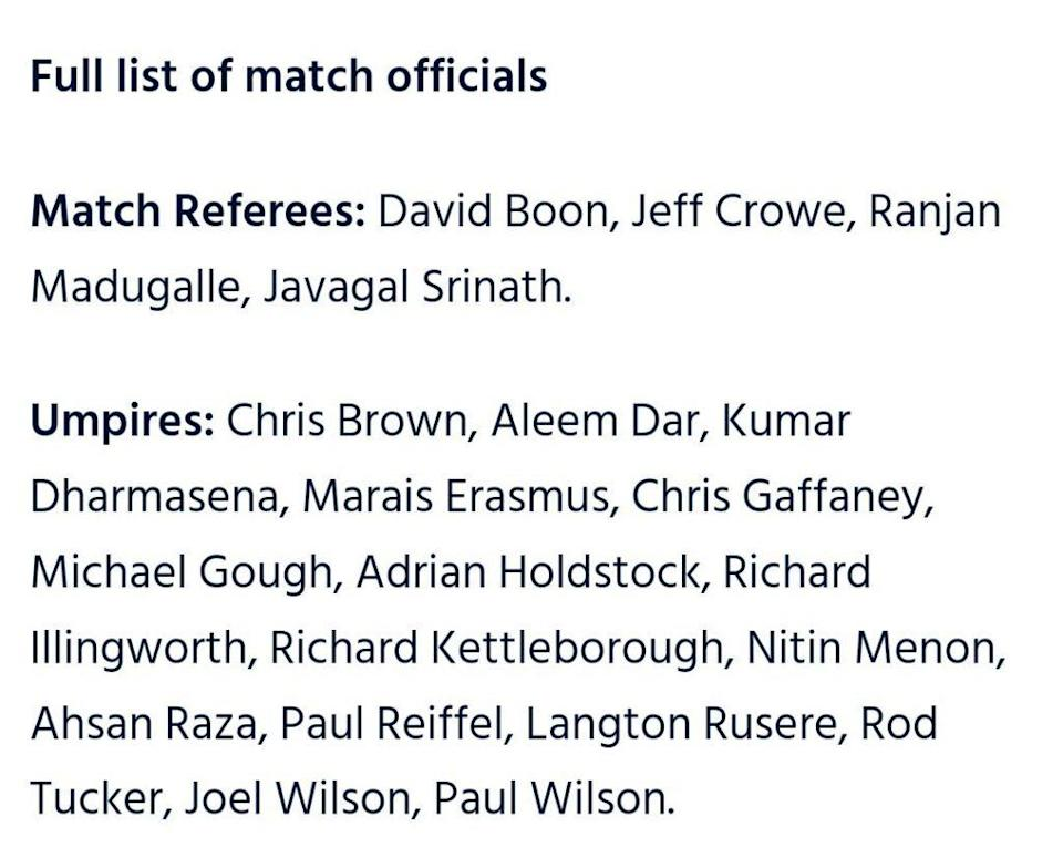 Here is the complete list of match officials for T20 World Cup