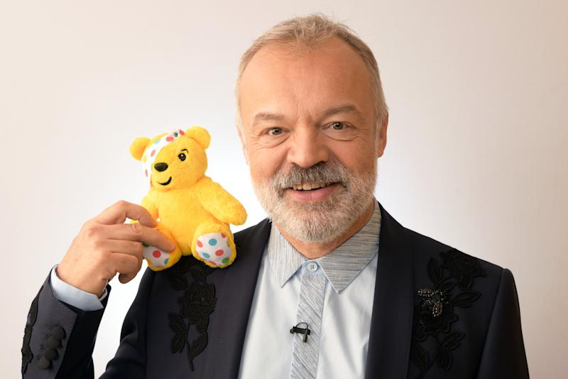 BOREHAMWOOD, ENGLAND - NOVEMBER 16: Graham Norton backstage at BBC Children In Need's 2018 appeal night at Elstree Studios on November 16, 2018 in Borehamwood, England. (Photo by Dave J Hogan/Dave J Hogan/Getty Images)