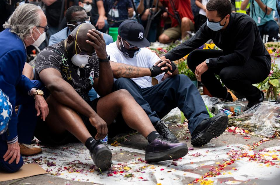 Terrence Floyd (C) attends a vigil where his brother George Floyd was killed. Source: Getty Images