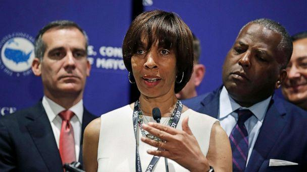 PHOTO: Baltimore Mayor Catherine Pugh addresses a gathering during the annual meeting of the U.S. Conference of Mayors in Boston, June 8, 2018. (Charles Krupa/AP, FILE)