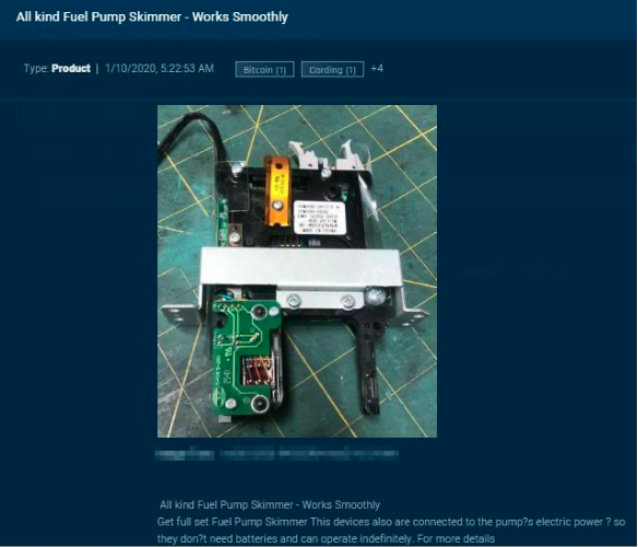 A dark web post showing a credit card skimmer that can be installed at a gas station. (Sixgill)