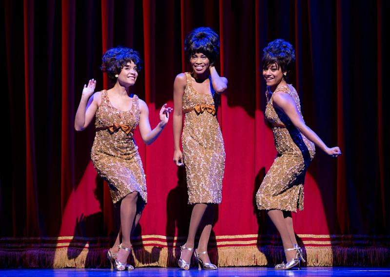 """This theater image released by Boneau/Bryan-Brown shows, from left, Sydney Morton as Forence Ballard, Valisia LeKae as Diana Ross and Ariana DeBose as Mary Wilson of The Supremes in """"Motown: The Musical,"""" performing at the Lunt-Fontanne Theatre in New York. (AP Photo/Boneau/Bryan-Brown, Joan Marcus)"""