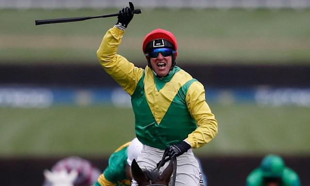 "<span class=""element-image__caption"">Robbie Power wearing his special goggles on board Gold Cup winner Sizing John on Friday at the Cheltenham Festival.</span> <span class=""element-image__credit"">Photograph: Alan Crowhurst/Getty Images</span>"