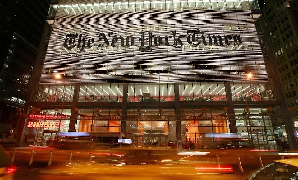 NEW YORK - FEBRUARY 19: The New York Times headquarters is seen February 19, 2009 in New York City. The New York Times Co. suspended quarterly dividend payments to shareholders today in an effort to reduce debt. Mario Tama/Getty Images/AFP (AFP Photo/Mario Tama)