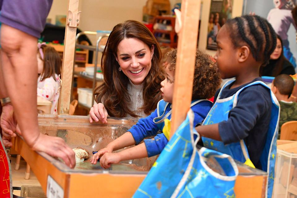 Duchess of Cambridge during a visit to London Early Years Foundation Stockwell Gardens Nursery (PA)