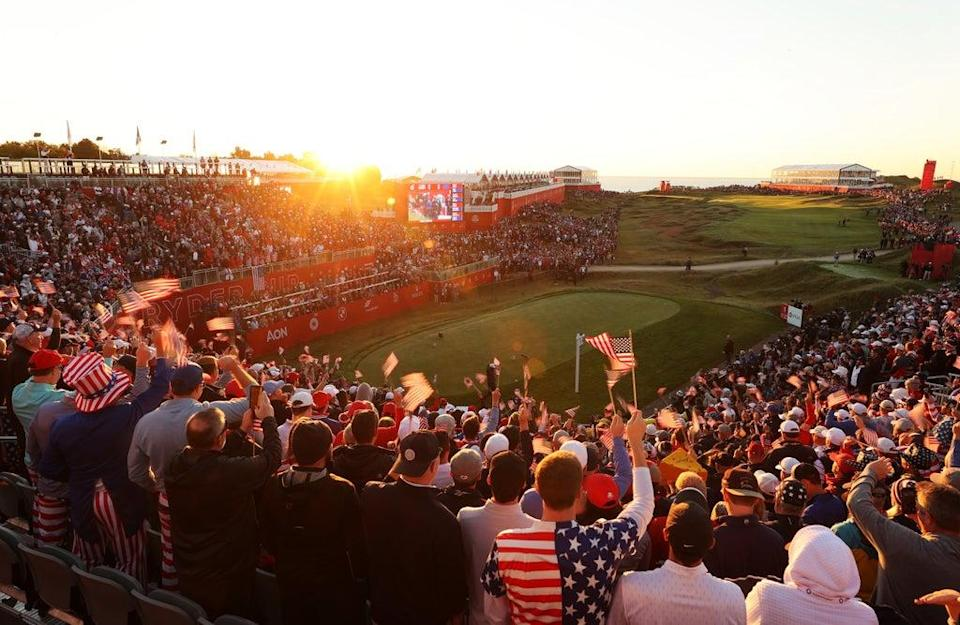 Fans gather in the first tee grandstands prior to the start of Friday Morning Foursome Matches of the 43rd Ryder Cup at Whistling Straits (Getty)