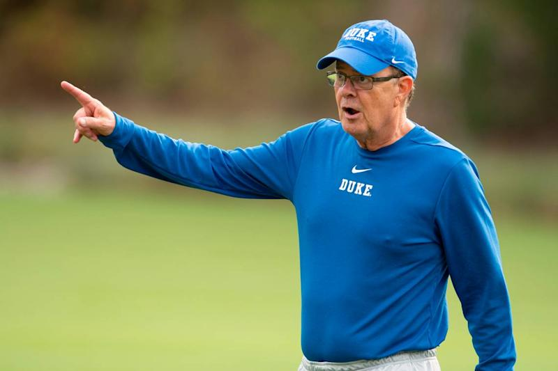 Duke coach David Cutcliffe gives instructions as Duke holds its first football practice of the season Friday, August 2, 2019.