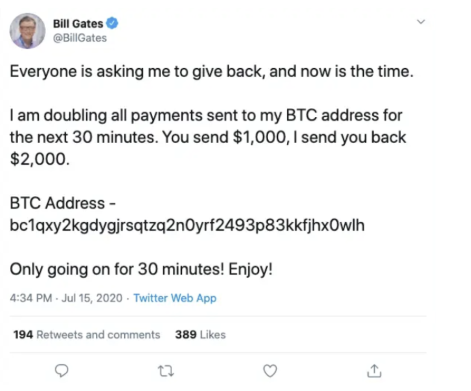 Bill Gates' account was taken over on July 15th. (Screenshot of Twitter from Area 1)