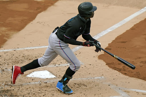 Miami Marlins shortstop Jazz Chisholm (70) hits a run-scoring double during the second inning of a baseball game against the New York Yankees, Sunday, Sept. 27, 2020, at Yankee Stadium in New York. (AP Photo/Kathy Willens)