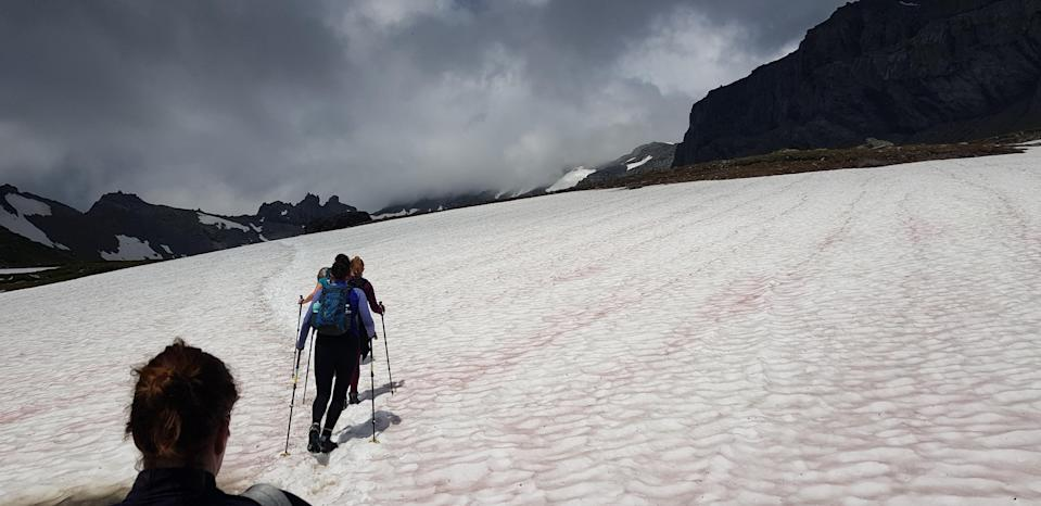 Carefully crossing the Segnespass snow fields. [photo: Rob Young]