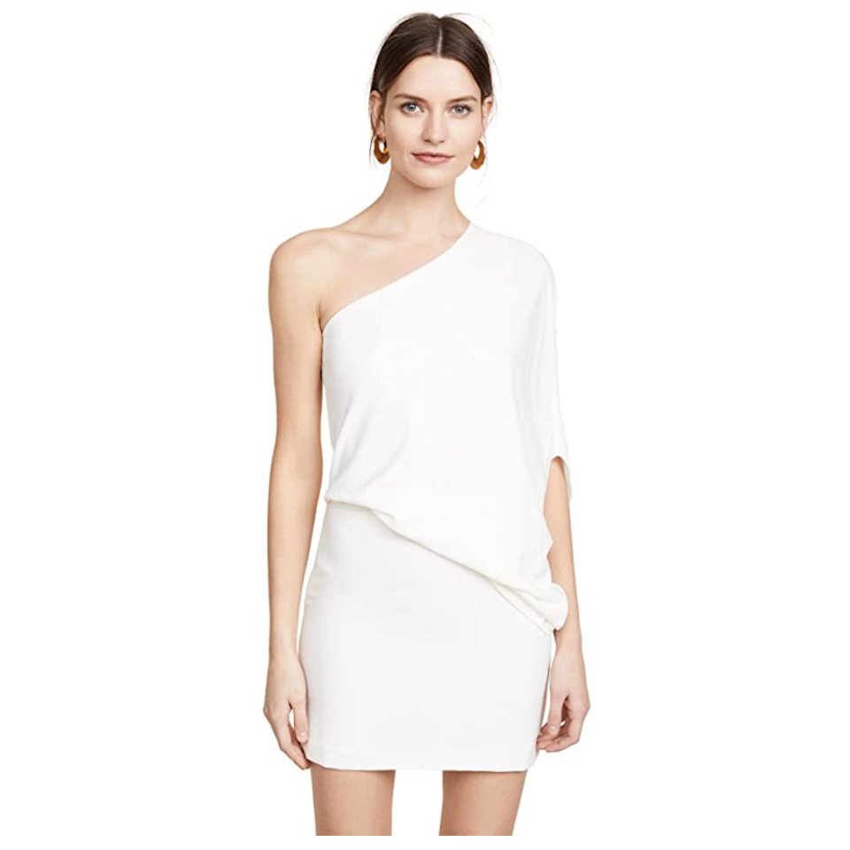 """This asymmetrical white number is tailored to make you look angelic—literally. The draped top and seamless fit keep it feeling fresh and modern; plus, you can snag this cold-shoulder mini dress in up to a size 14. $159, Amazon. <a href=""""https://www.amazon.com/Halston-Heritage-Womens-Shoulder-Asymmetrical/dp/B076MK64XG"""" rel=""""nofollow noopener"""" target=""""_blank"""" data-ylk=""""slk:Get it now!"""" class=""""link rapid-noclick-resp"""">Get it now!</a>"""
