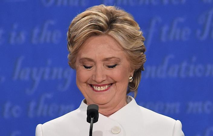 <p>Hillary Clinton smiles during the final presidential debate at the Thomas & Mack Center on the campus of the University of Las Vegas in Las Vegas, Nevada on October 19, 2016. (Robyn Beck/AFP/Getty Images) </p>