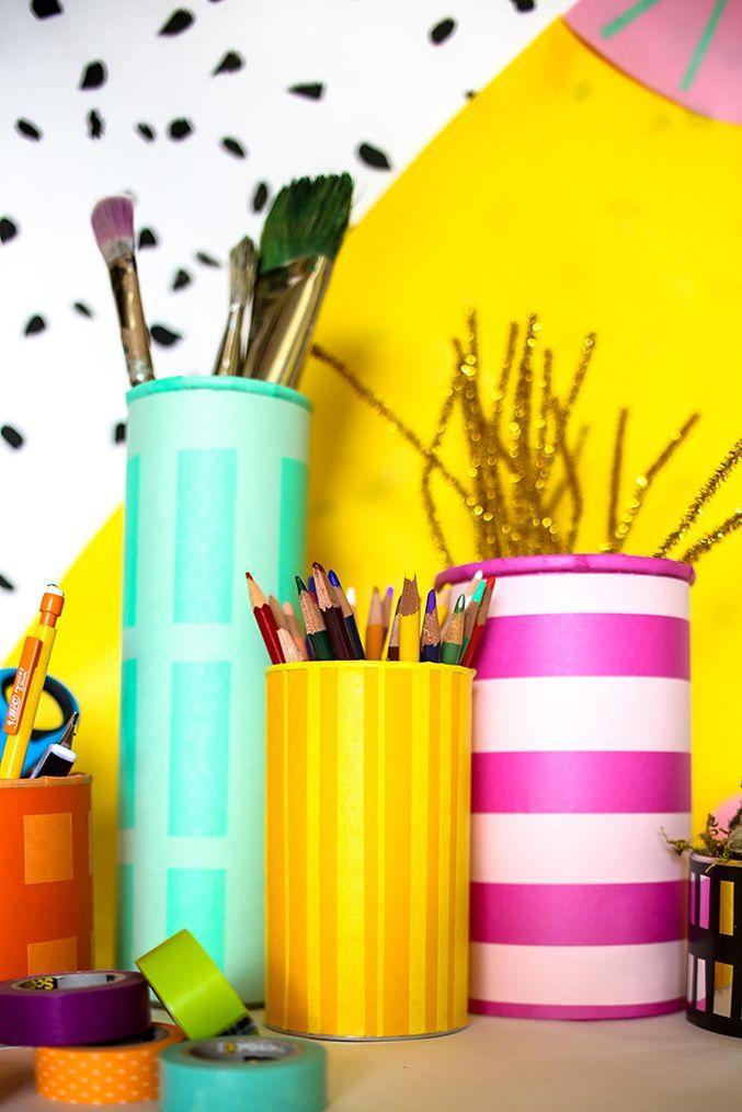 """<p>Save those oatmeal, nut and potato-chip tubes! With some washi tape, they can become pencil cups and desk organizers. (Recycling!) </p><p><a href=""""https://thehousethatlarsbuilt.com/2015/07/diy-office-organizer.html"""" rel=""""nofollow noopener"""" target=""""_blank"""" data-ylk=""""slk:Get the tutorial at The House That Lars Built »"""" class=""""link rapid-noclick-resp""""><em>Get the tutorial at The House That Lars Built »</em></a></p>"""