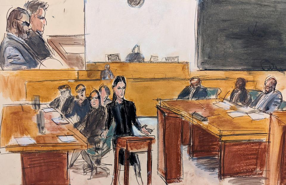 In this courtroom artist's sketch, R. Kelly, top left, listens as his defense attorney Nicole Blank Becker, center, makes her opening statement at his federal sex-trafficking trial in New York on Aug. 18, 2021.