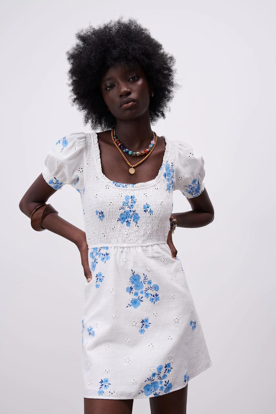 <p>This <span>Zara Openwork Embroidered Floral Dress</span> ($50) has such a cute silhouette. Pair it with fun necklaces and strappy sandals.</p>
