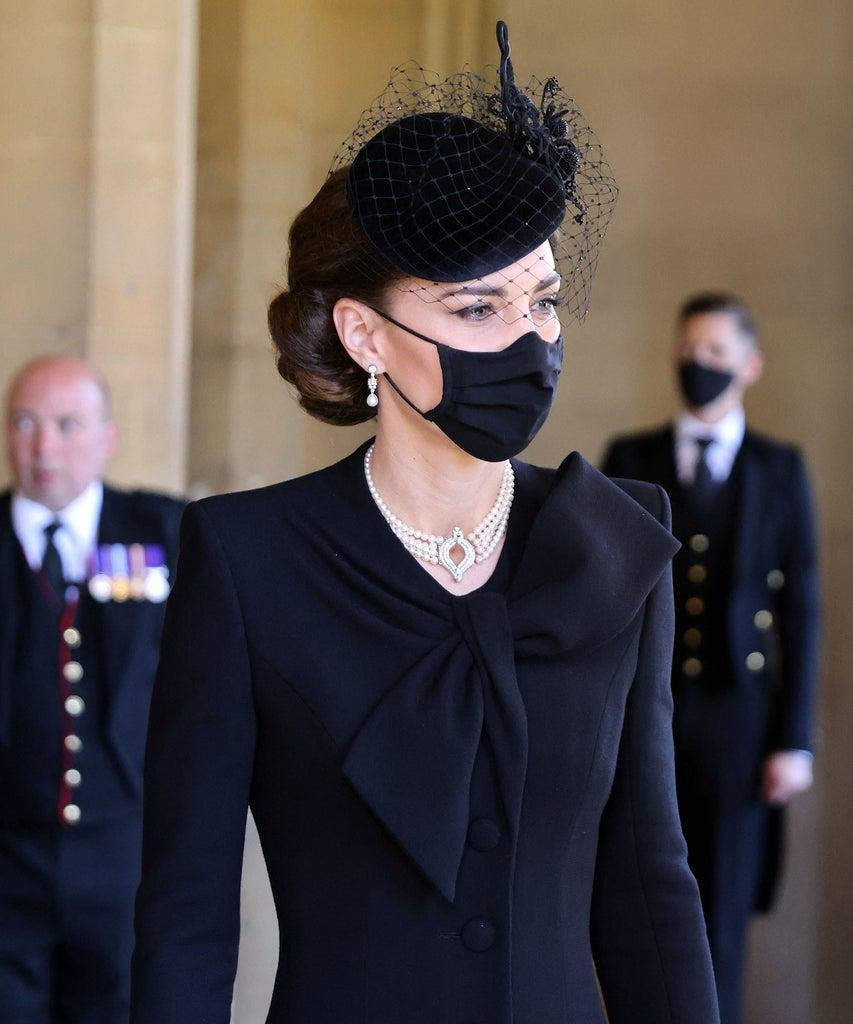 Britain's Catherine, Duchess of Cambridge, attends the funeral of Britain's Prince Philip, Duke of Edinburgh at St George's Chapel in Windsor Castle in Windsor, west of London, on April 17, 2021. – Philip, who was married to Queen Elizabeth II for 73 years, died on April 9 aged 99 just weeks after a month-long stay in hospital for treatment to a heart condition and an infection. (Photo by CHRIS JACKSON / various sources / AFP) (Photo by CHRIS JACKSON/AFP via Getty Images)