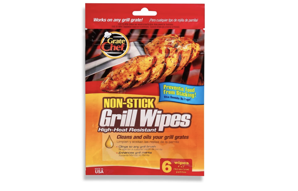 "<p><strong>Grate Chef</strong></p><p>amazon.com</p><p><strong>$5.89</strong></p><p><a href=""https://www.amazon.com/dp/B001947NQ0?tag=syn-yahoo-20&ascsubtag=%5Bartid%7C1782.g.32945021%5Bsrc%7Cyahoo-us"" rel=""nofollow noopener"" target=""_blank"" data-ylk=""slk:BUY NOW"" class=""link rapid-noclick-resp"">BUY NOW</a></p><p>No need to whip out the heavy-duty cleaner if you've only made a light meal. These absorbent and flame-retardant wipes are great for a quick once-over to make sure you've gotten everything left behind.</p>"