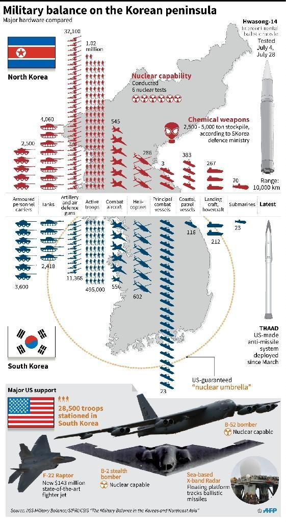 Graphic comparing the military hardware of North and South Korea (AFP Photo/John SAEKI)