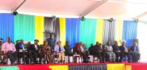 Tanzania's re-elected President John Pombe Magufuli sits with fellow contestants at a ceremony to award certificates to winners of the elections at the National Electoral Commision (NEC) headquarters at the Njedengwa suburb in Dodoma