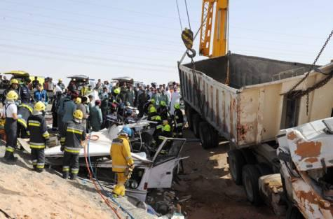At least 21 people died and 25 others were injured on Monday when the bus they were travelling in was involved in a road smash with a lorry in the UAE city of Al Ain.Photo: Al-Ain Police Public Relations office